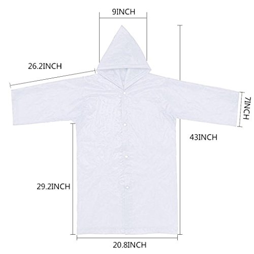 Tpingfe Portable Reusable Raincoats Children Rain Ponchos For 6-12 Years Old, 1PC (Clear) by Tpingfe (Image #4)