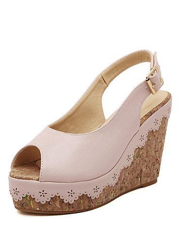 ShangYi Women's Shoes Wedge Heel Wedges/Peep Toe Sandals Casual Pink/White Pink dPjMSnEh