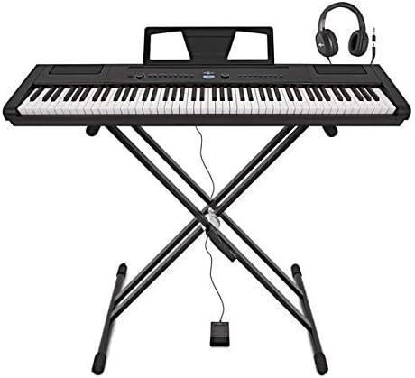 Piano de Escenario SDP-3 de Gear4music + Soporte Pedal y Auriculares
