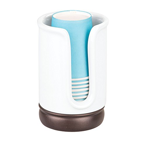mDesign Decorative Ceramic Disposable Paper or Plastic Cup Holder Dispenser for Bathroom Vanity Countertops - Use for Water, Mouthwash, Rinsing - White/Bronze