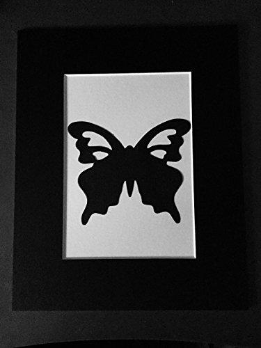 Black Butterfly Art Print, Hand-cut Cardstock Butterfly Matte Frame Art piece