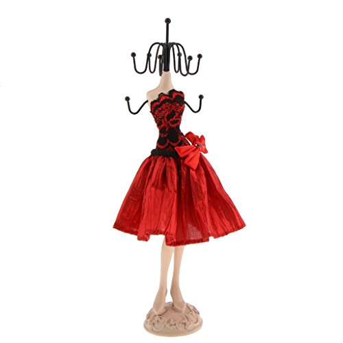 Jili Online Jewelry Organizer Hanging Earring Necklace Display Mannequins Dress Lady Figure Stand Holder Fancy Red - 31cm