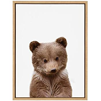 Kate and Laurel Sylvie Baby Bear Animal Print Portrait Framed Canvas Wall Art by Amy Peterson, 18x24 Natural