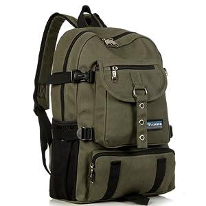 New Fashion arcuate shoulder strap zipper solid casual bag male backpack school bag canvas bag designer backpacks for men (Dark Green Color)