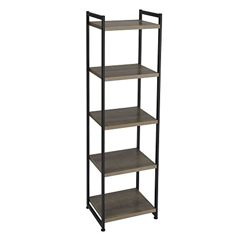 Media Storage Shelving Unit - Household Essentials 5 Tier Storage Tower Metal, Grey Shelf - Black Frame, Ashwood