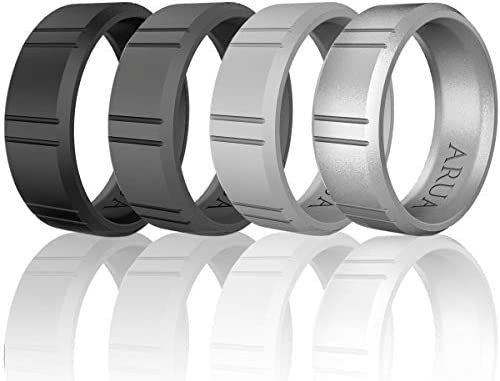 Comfortable Gift Bag and Silicone Keychain Included. Arua Elegant Glossy Silicone Wedding Ring for Men Thin Durable Rubber Wedding Bands