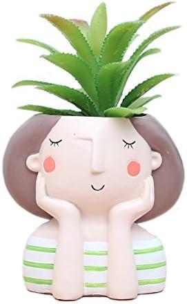Succulent Plant Pot Cute Girl Flowerpot Home Garden Bonsai Pot Birthday Gift