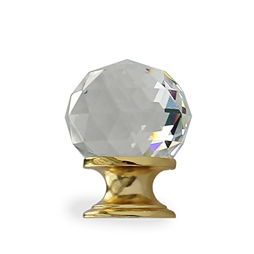 RCH Hardware Chateau Diamond Cut Crystal Fancy Decorative Cabinet Knob with Polished Brass Base