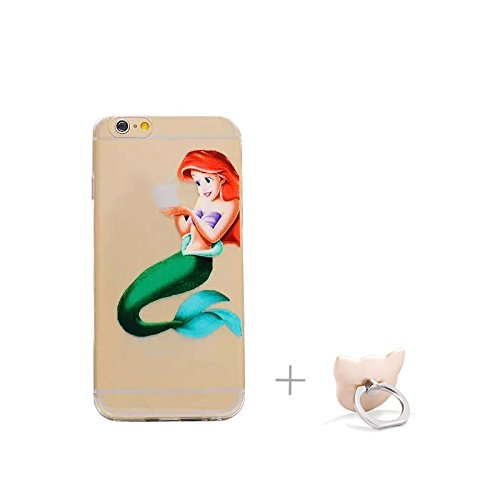 for iPhone 6 /6S Case,Princess Eating/ Holding Logo Apple Clear Transparent Soft Back Protector Case Cover for iPhone 6 /6S(Ariel)