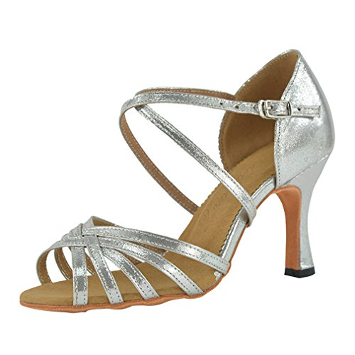 Dance Adult BYLE Dance Onecolor High Jazz Modern Latin Strap Shoes Sandals Latin Shoes Dance Pu Samba Female Bottom Leather Ankle Silver Shoes Heeled Soft awxragqOv