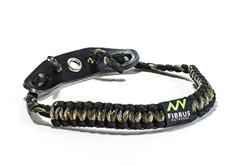 Fibrus Outdoors Bow Wrist Sling 550 Paracord - Survival Hunting Shooting - Durable Leather with Grommet (Multiple Color Options) (Hardwoods Camo Black)