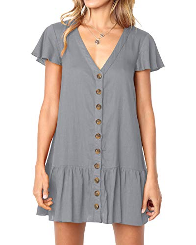 Imysty Womens Polka Dot V Neck Button Down Ruffles Loose Mini Short T-Shirt Dress (Large, Z1-Grey) - Grey T-shirts Short