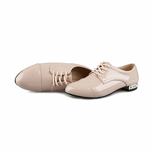 Latasa Womens Fashion Low Chunky Heels Lace-up Patent-leather Oxfords Shoes Nude SUXGTmK5