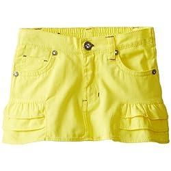 U.S. POLO ASSN. Little Girls' Twill Skirt with Tiered Ruffle Trim
