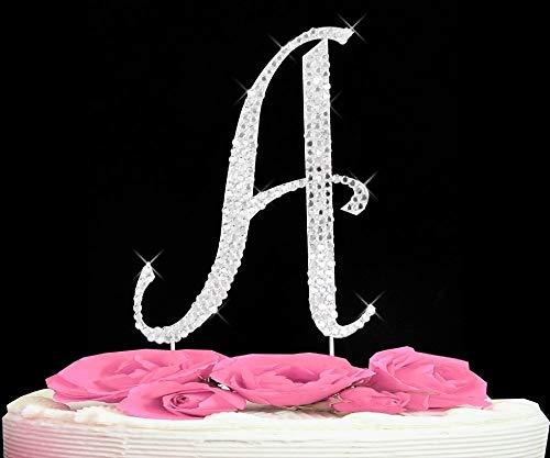 (Letter A - Swarovski Crystal Monogram Wedding Cake Topper Letter)