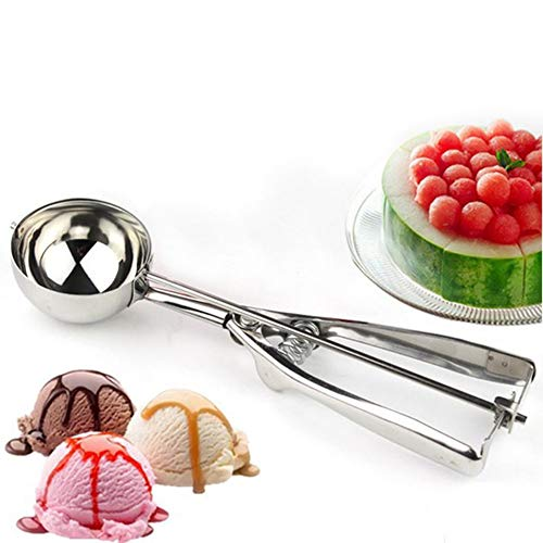HermosaUKnight Hochwertiger Eisl/öffel aus rostfreiem Stahl mittelgro/ß Grabl/öffel aus Obst Silber