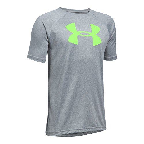 Under Armour Boys' UA Tech Big Logo T-Shirt,Steel Light Heather/Quirky Lime, Youth X-Large