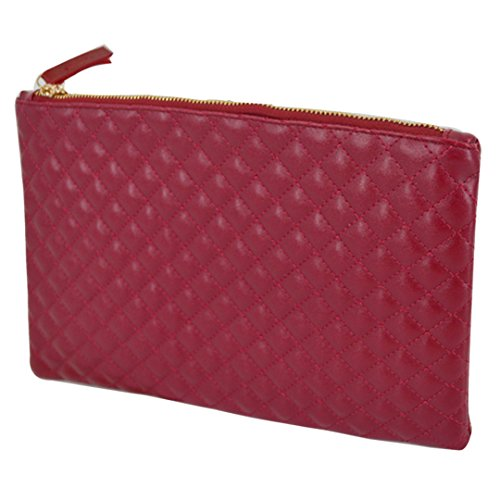 elope Clutch Fashionista Quilted Diamond Pattern Leather Handbag Purse (burgundy) ()