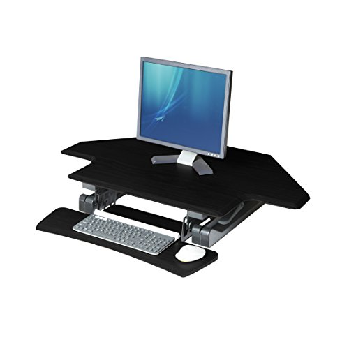 Seville Classics OFF65869 Airlift 43'' Gas-Spring Adjustable Cubicle Corner Standing Desk Ergonomic Workstation with Keyboard Tray (Max Height 19.7''), Black by Seville Classics (Image #9)