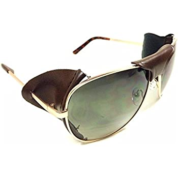 c2954e15c7 FAUX Leather Side Shield AVIATOR SUNGLASSES Classic Motorcycle Wind Guard  VTG