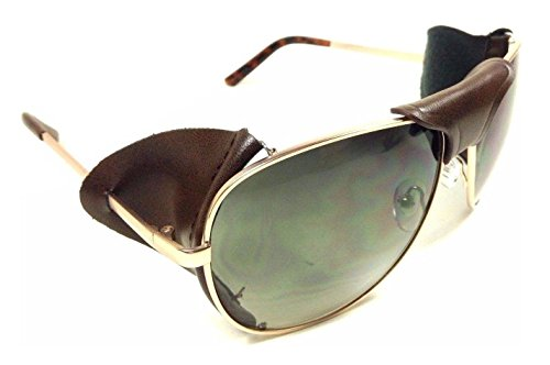 Retro Aviator Sunglasses w/ Faux Leather Bridge & Side Shields (Gold Frame - Brown Leather, (Green Leather Frame)