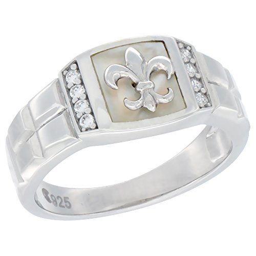 Mens Sterling Silver Cubic Zirconia Fleur de Lis Ring Square Shell 3/8 inch wide, size 12 ()