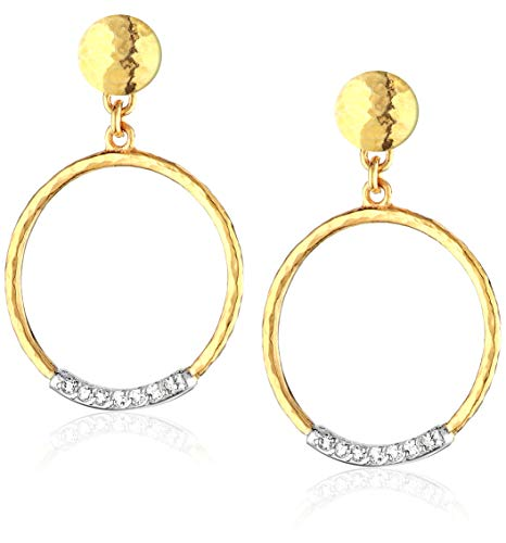 GURHAN Women's Delicate Geo Pave Collection Gold and Diamond Pave Circle Drop Post Earrings, One ()