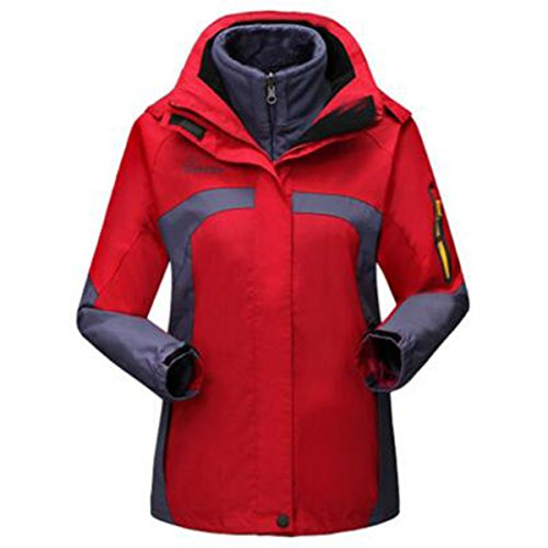 XL Para Damas Chaquetas Red Triple Calientes Escaladores Thicken LAI WU Polar Impermeable qACw0Bw