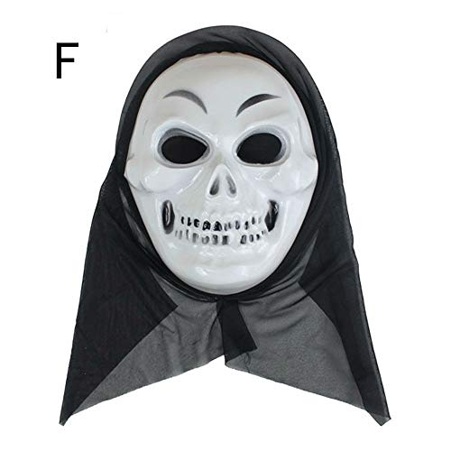 Scary Halloween Mask Terror Ghost Devil Mask Dance Party Scary Biochemical Alien Zombie Caps Mask (F)