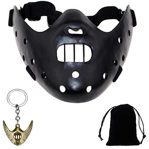 Youshe Black Resin Hannibal Lecter Replica Mask with Random Color Mask -