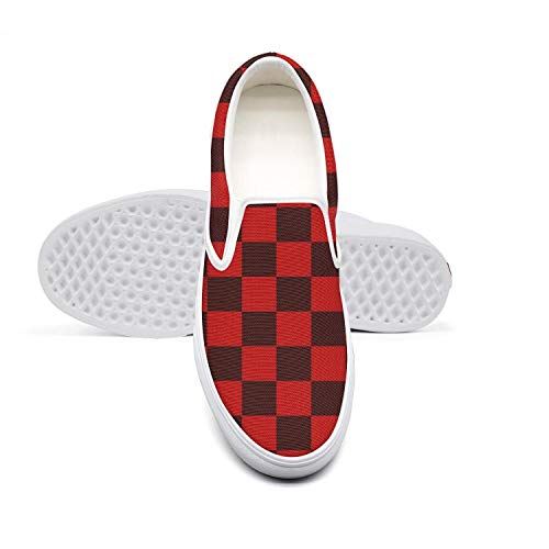 Red Checkerboard Paper Women's Slip-on Loafer Fashion Sneaker Casual Flat Walking Shoes Breathable ()