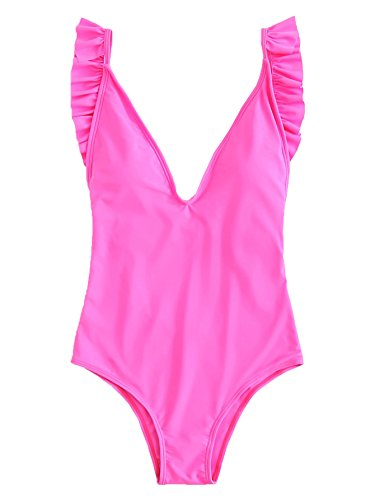 SOLYHUX Women's Deep V Neck Open Back Ruffle One Piece Swimsuit Hot Pink (Hot Pink Swimsuit)
