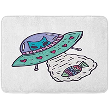 Amazon.com: Emvency Doormats Bath Rugs Outdoor/Indoor Door Mat UFO and Alien Cat Flying Catch ...