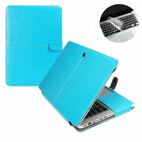 Se7enline Macbook Air 13 inch Case PU Leather Book Case for 13.3 inch MacBook Air A1369 / A1466 Sleeve Carrying Cover Folio Case with Transparent Keyboard Cover, Blue Early Printers