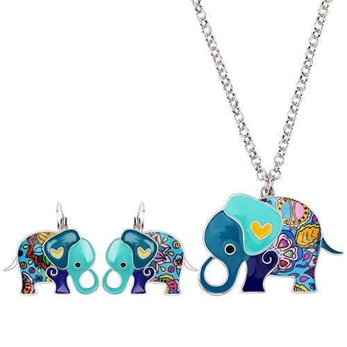 French Enamel Alloy Elephant Cartoon Earrings, Clip, Necklace Jewelry Sets | for Women, Girls, ()