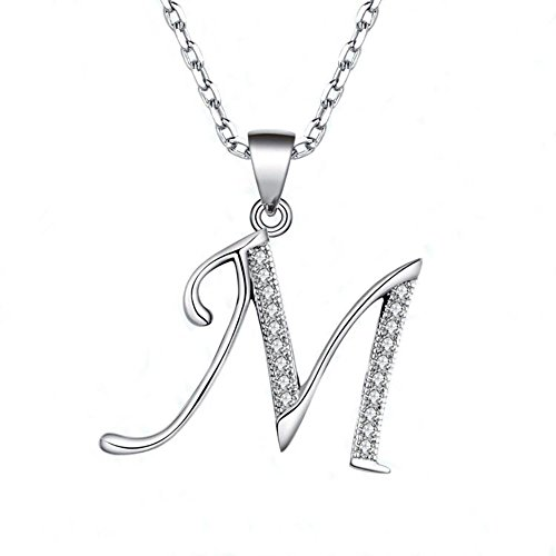 - GDDX 925 Sterling Silver 26 Alphabet Letter Pendant Necklace 18