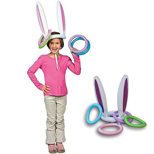 Keliay Bunny Rabbit Ears Hat with Rings Holiday Party Toss Game (A)