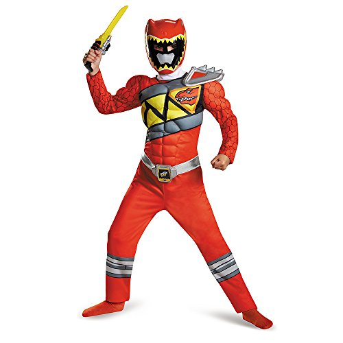 Disguise Red Ranger Dino Charge Classic Muscle Costume, Medium (7-8) (Tv Costume Ideas)