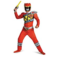 Disguise Costumes Red Ranger Dino Charge Classic Muscle Costume, Medium (7-8), One Color