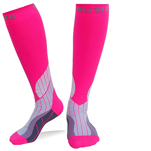 BLITZU Compression Socks 15-20mmHg for Men & Women BEST Recovery Performance Stockings for Running, Medical, Athletic, Edema, Diabetic, Varicose Veins, Travel, Pregnancy, Relief Shin Splint S/M Pink by BLITZU