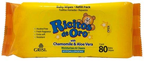 Chamomile and Aloe Vera Ricitos de Oro Baby Wipes |Refillable Baby Wipes, Moisturize and Clean Baby; 80 ()