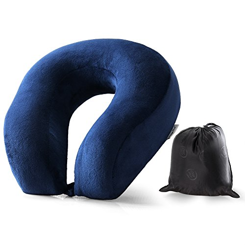Cozy Hut Easy to Carry Memory Foam Travel Neck & Cervical Pillow, Head Chin and Neck Support Washable Micro-Fiber Cover with Storage Bag, Navy Blue (Travel Foam Memory Neck Pillow)