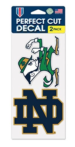 WinCrafr NCAA Notre Dame Fighting Irish 4'' x 8'' Set of 2 Die Cut Decals
