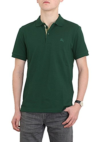 Burberry Brit mens short sleeve nova check placket polo shirt (XXL, Forest - Green Burberry