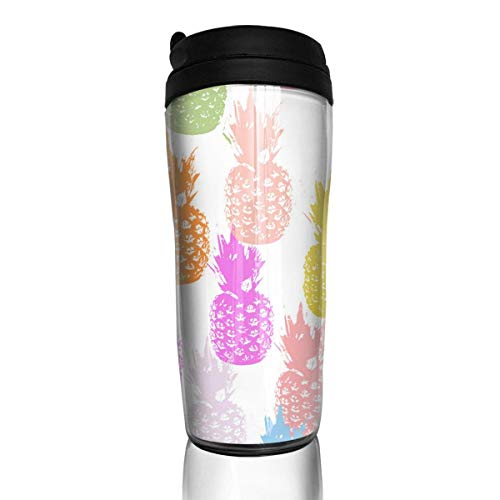 Custom Reusable Coffee Cup Cute Pineapple Watercolor Tumbler Vacuum-Insulated Travel Mug Hot Or Cold,12 Oz.with Lids -