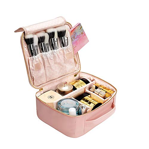 Makeup Bag Travel Cosmetic Bag, BEGIN MAGIC 10 PU Leather Portable Organizer Professional Cosmetic Train Case Cute Makeup Box with Removable Dividers Brush Section for Women Girls Travel-Pink