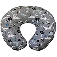 Boppy Original Nursing Pillow and Positioner, Gray Dinosaurs, Cotton Blend Fabric with Allover Fashion