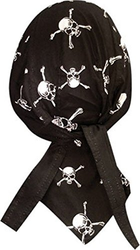 Black White Skull Crossbones Durag Head Wrap Cap Sweatband Headwrap by ZIZI SPORTS SUPPLY