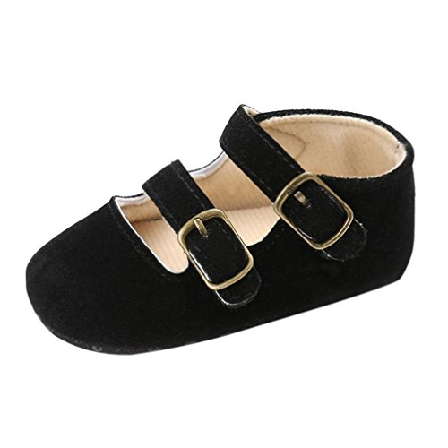 Voberry Baby Girls' Crib Moccasins Cute Soft Sole Sneakers Mary Jane Flat Shoes (0~6 Month, Black)]()
