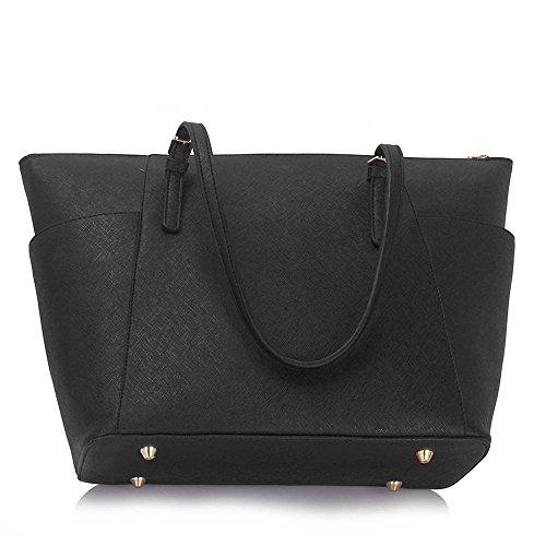 LeahWard Damenmode Desinger Qualität Tragetaschen Frauen modische Hotselling Handtaschen Große Schultertasche CWS00350, CWS00350-Schwarz, large